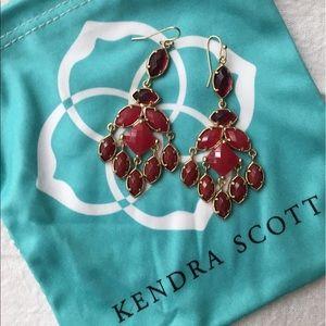 Kendra Scott - Gold Chandelier Earrings - Red